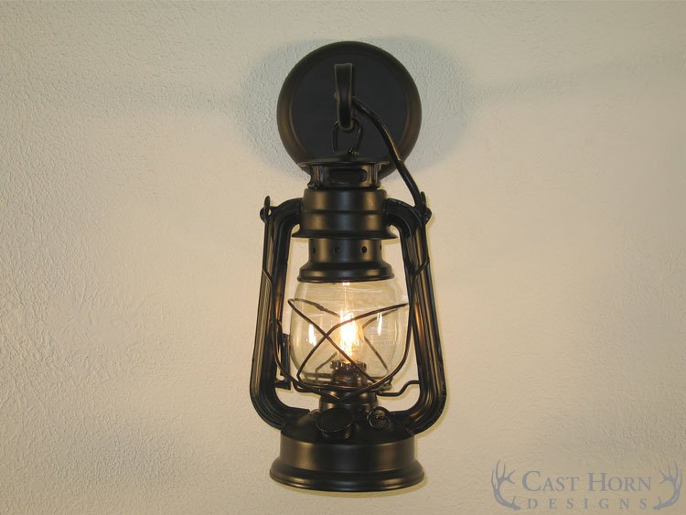 Black Lantern Wall Sconces : Small Black Lantern Wall Sconce Cast Horn Designs