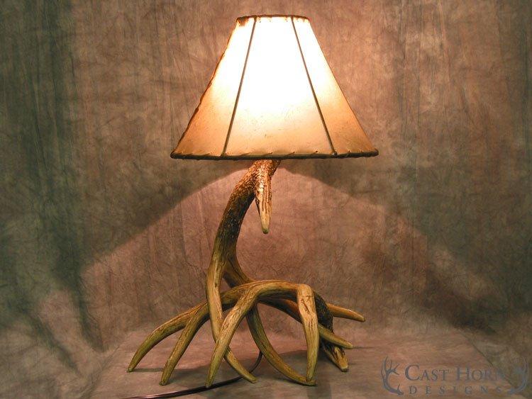 Whitetail Deer 2 Antler Table Lamp Cast Horn Designs