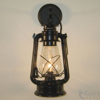 Large Black Lantern Wall Sconce