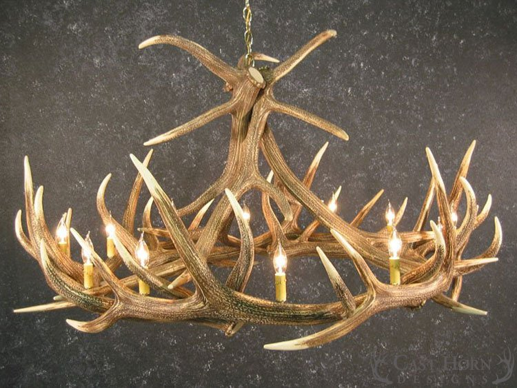 Elk 9 Antler Chandelier : Cast Horn Designs