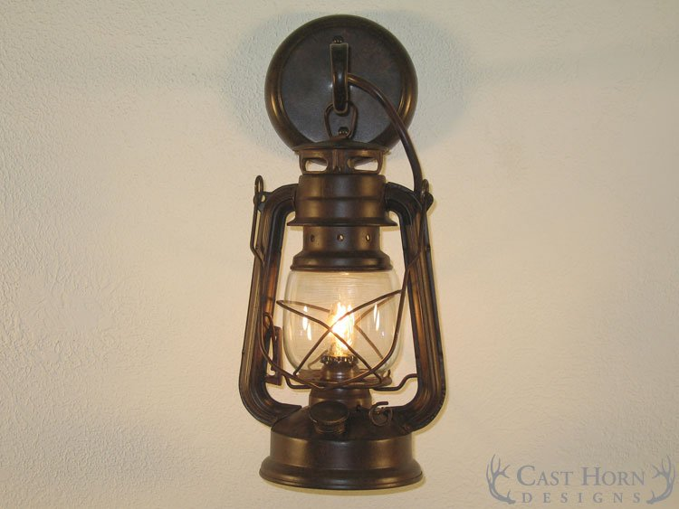 Small Rustic Lantern Wall Sconce ...