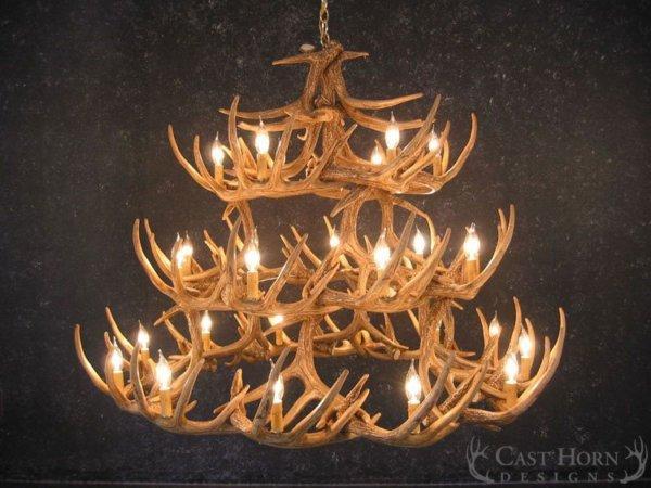 Whitetail deer 42 antler chandelier cast horn designs whitetail deer 42 antler chandelier mozeypictures Images