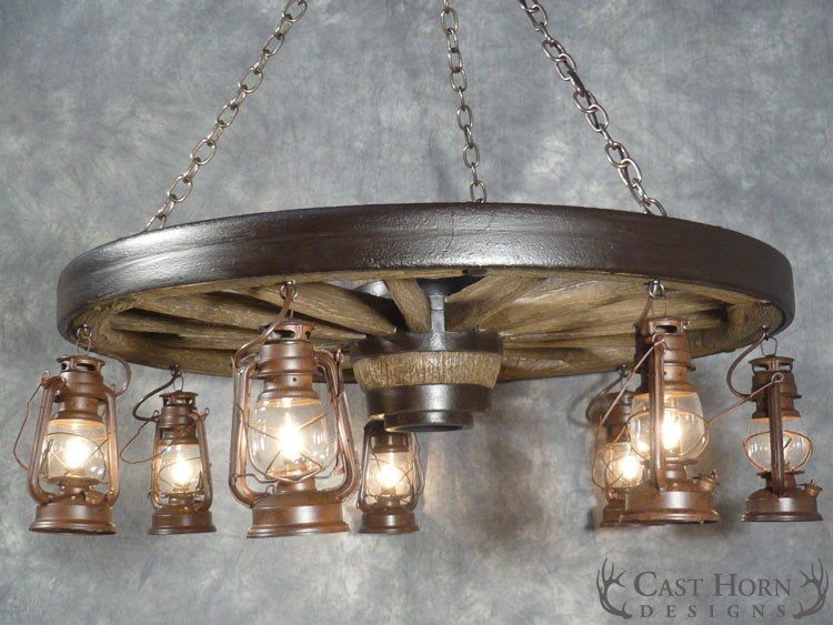 ... Large Wagon Wheel Chandelier With Lanterns ...