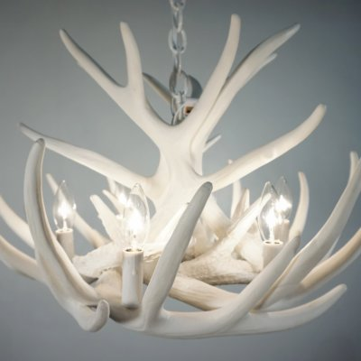 Whiteout Whitetail Deer Antler Chandelier