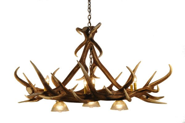 Elk 6 Antler Chandelier with 3 Downlights