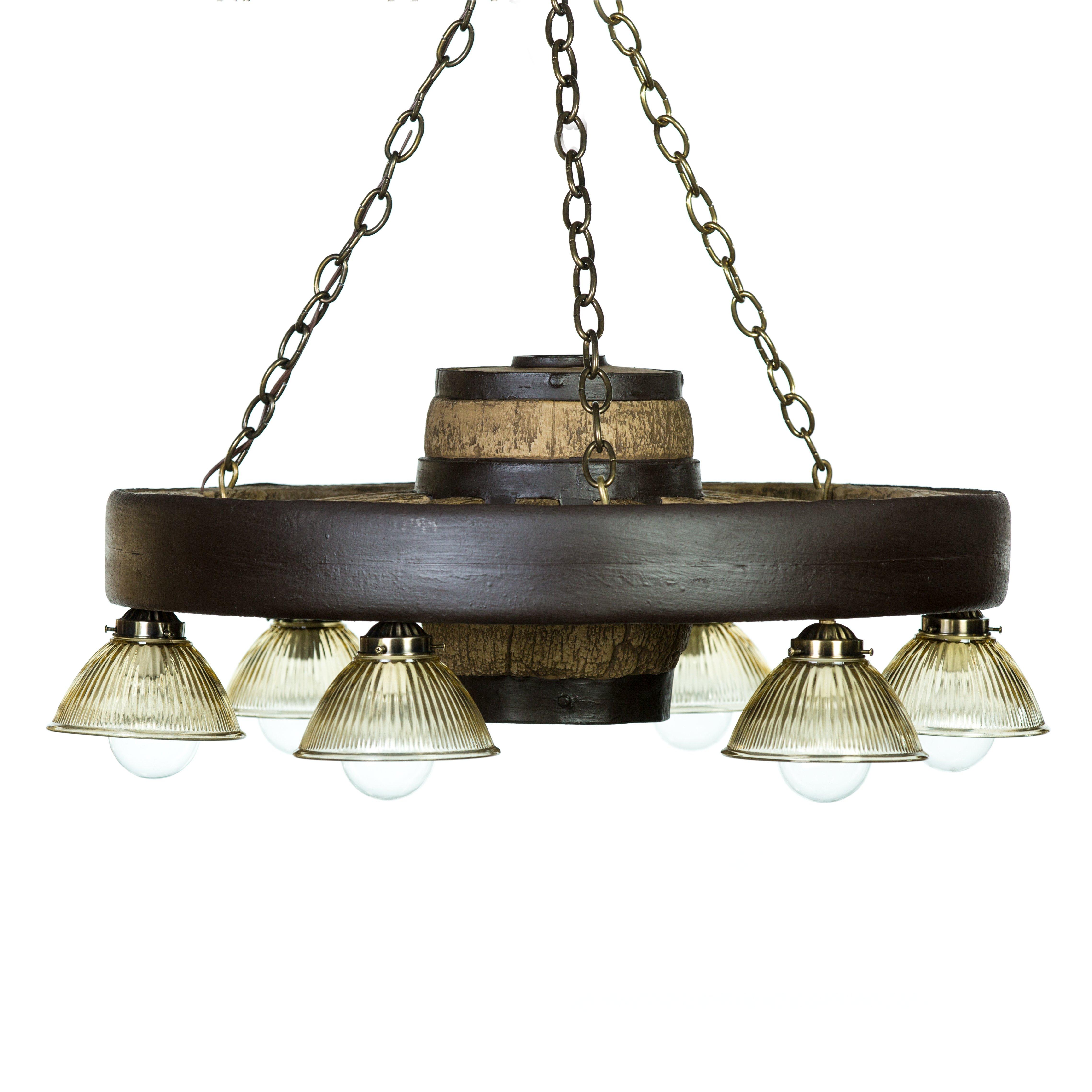 Black Wagon Wheel Light: Small Wagon Wheel Chandelier With Downlights