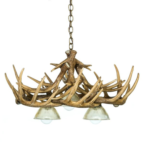 Whitetail Deer 10 Antler Chandelier with 3 Downlights