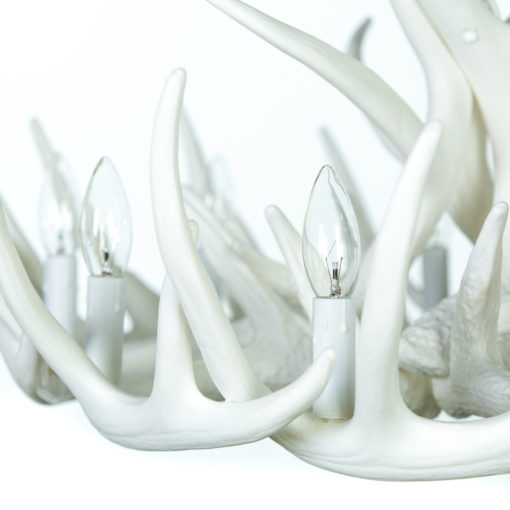 Whitetail Deer 12 Antler Cascade Chandelier in Pure White
