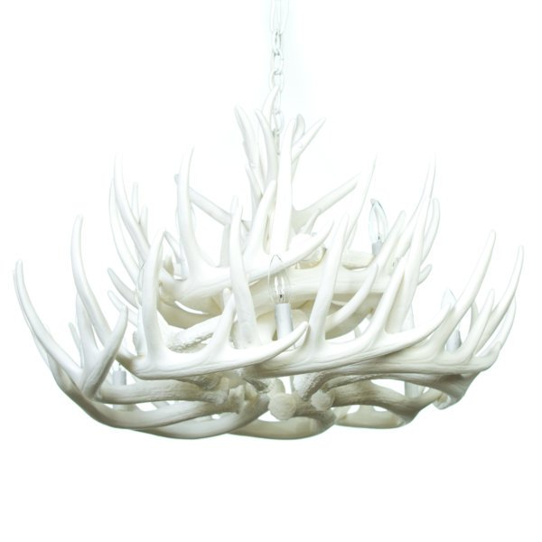 Whitetail Deer 21 Antler Cascade Chandelier in Pure White