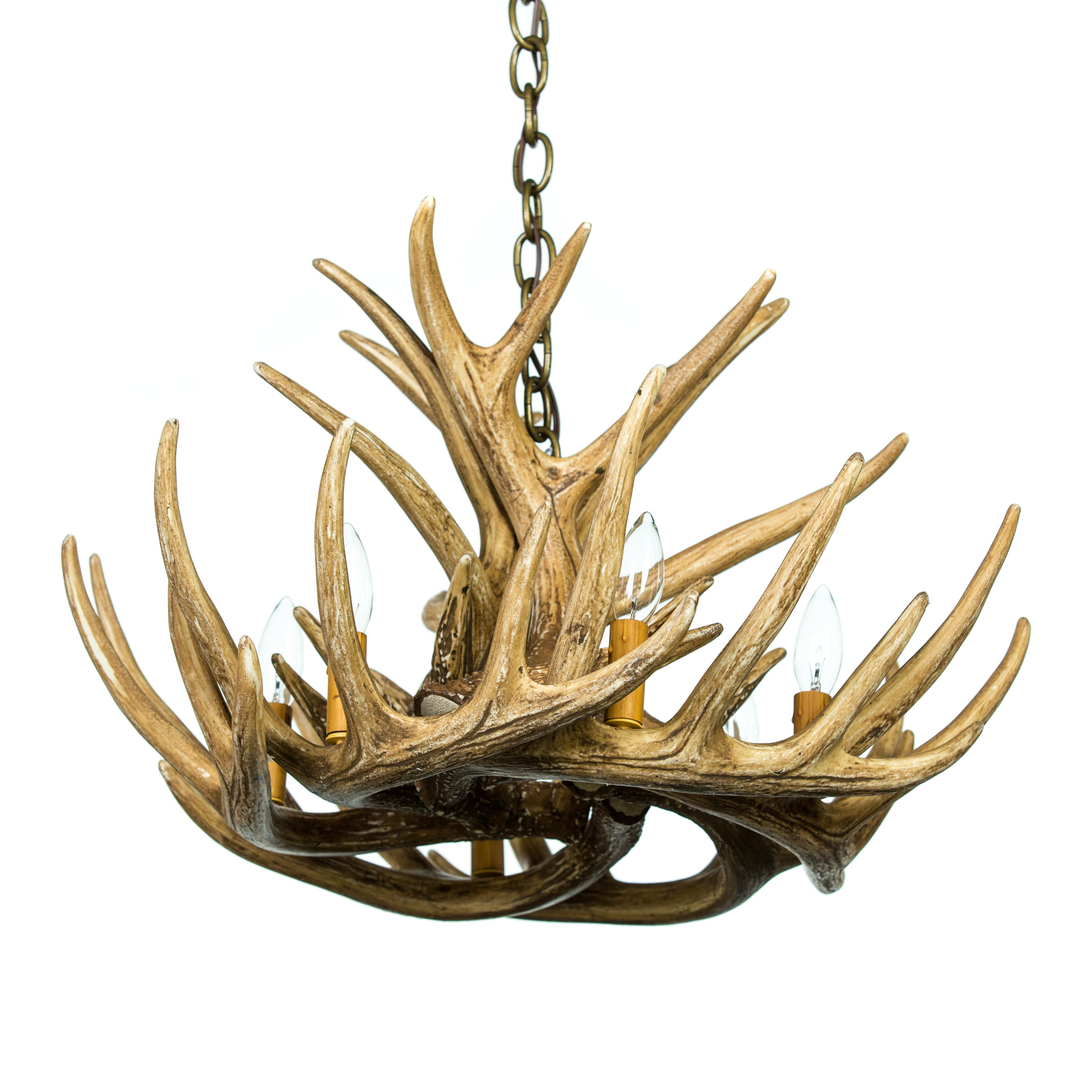 Whitetail Deer 9 Antler Cascade Chandelier Cast Horn Design