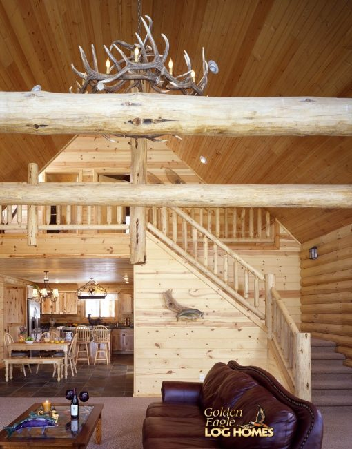 Elk Antler Chandelier in Cabin
