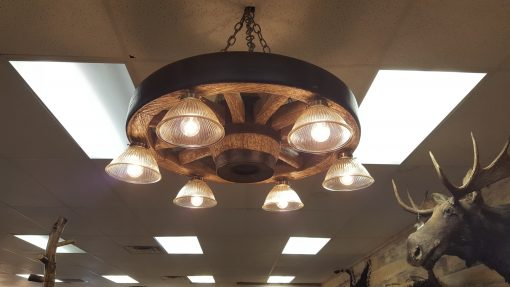 Small Wagon Wheel Chandelier With Downlights Cast Horn