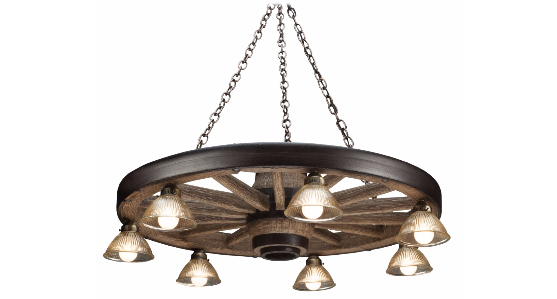 Wagon Wheel Chandelier with Downlights Cast Horn Designs