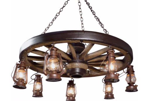 Large Wagon Wheel Chandelier With Lanterns ...