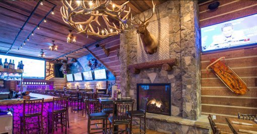 Elk Antler Chandelier in Bar