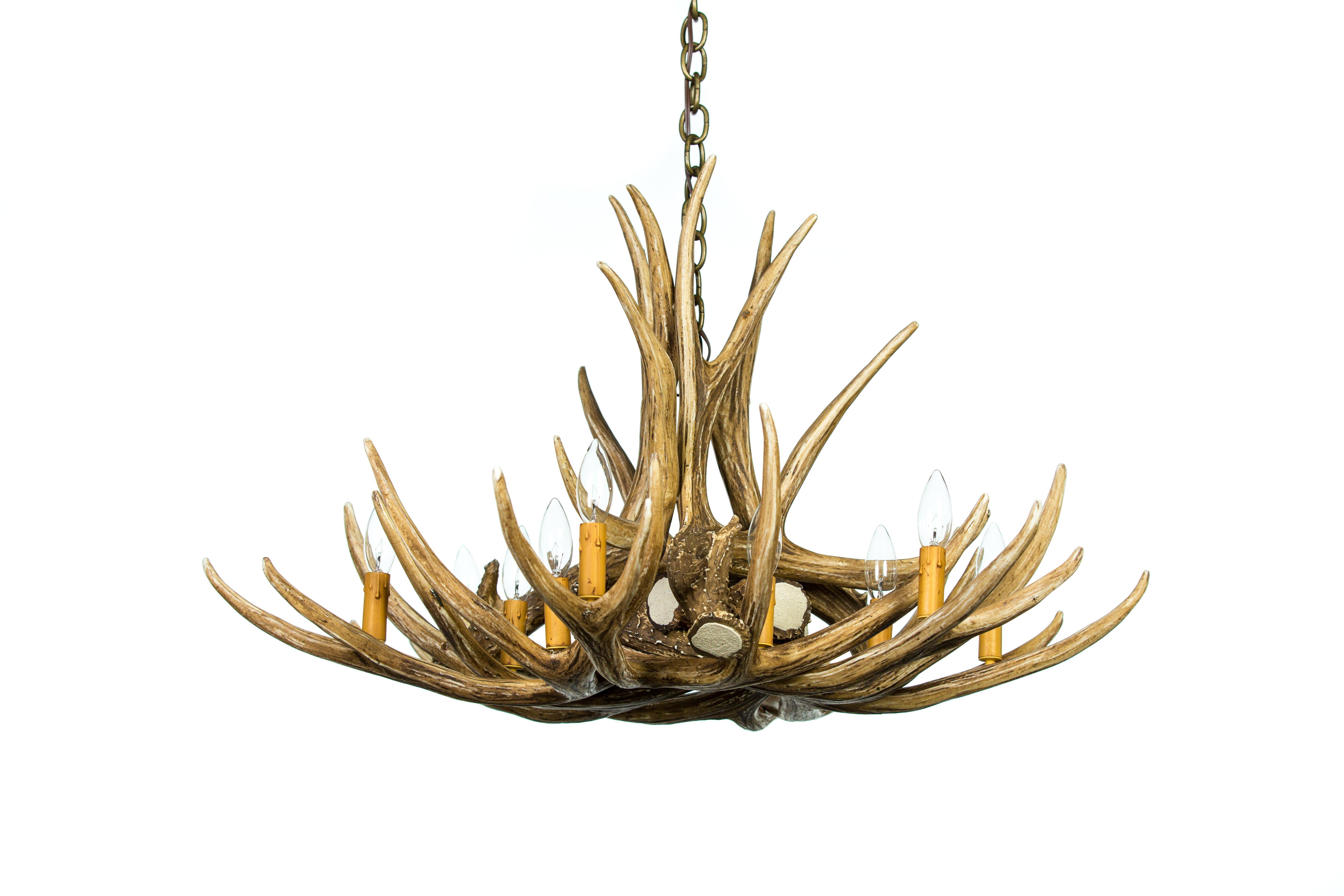 Antler chandeliers rustic lighting cast horn designs mule deer 9 antler chandelier aloadofball Image collections