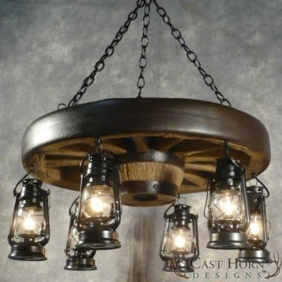 Small Wagon Wheel Chandelier with Lanterns
