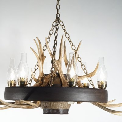 Wagon Wheel Mule Deer Antler Chandelier