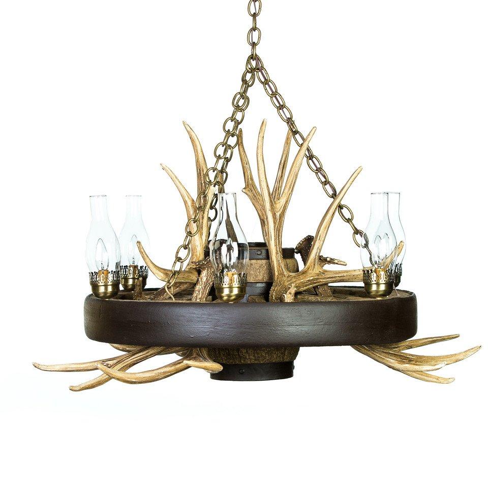 Wagon wheel mule deer antler chandelier cast horn designs aloadofball Image collections