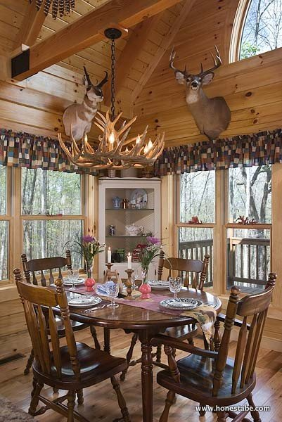 Interior, vertical, dining room, Gilchrist residence, Monterey, Tennessee, Honest Abe Log Homes