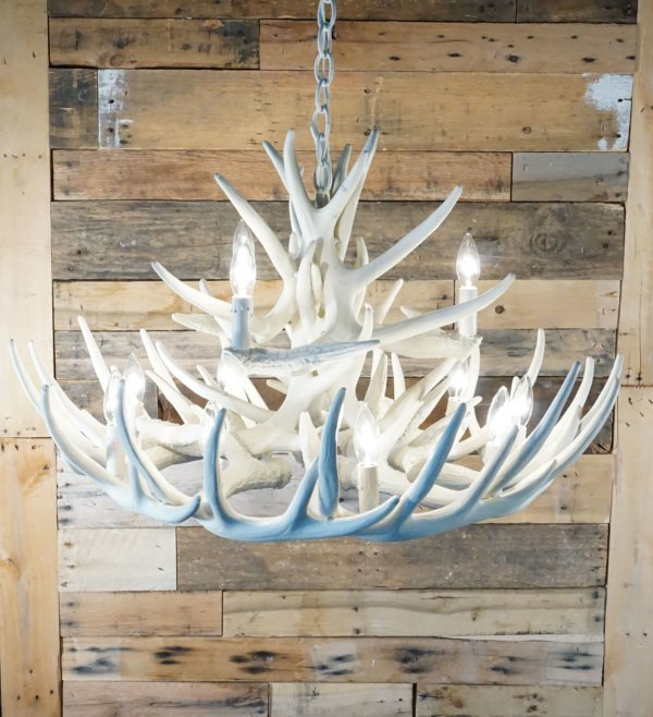 whitetail deer 15 antler chandelier in pure white