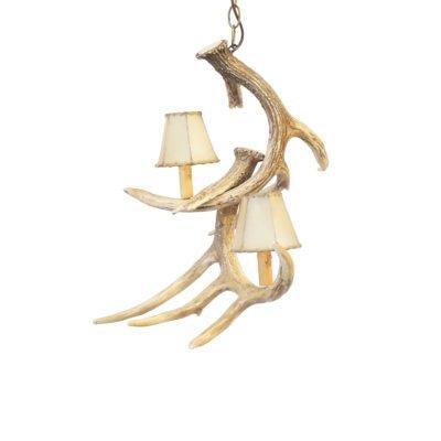 Whitetail Deer 2 Antler Spiral Pendant