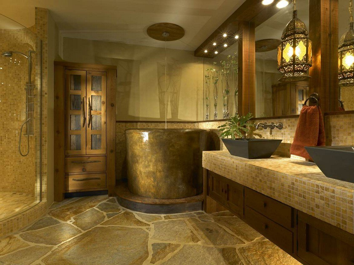 rustic bathroom shower ideas decorating your rustic bathroom cast horn designs 20272
