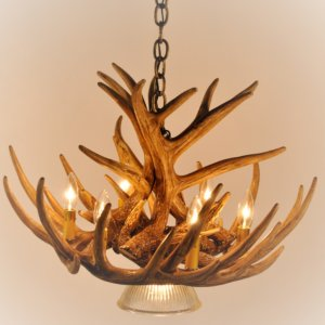 Antler chandeliers rustic lighting cast horn designs whitetail deer 9 antler cascade chandelier with 1 downlight aloadofball Image collections