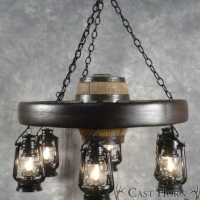 Rustic Small Wagon Wheel Chandelier With Lanterns