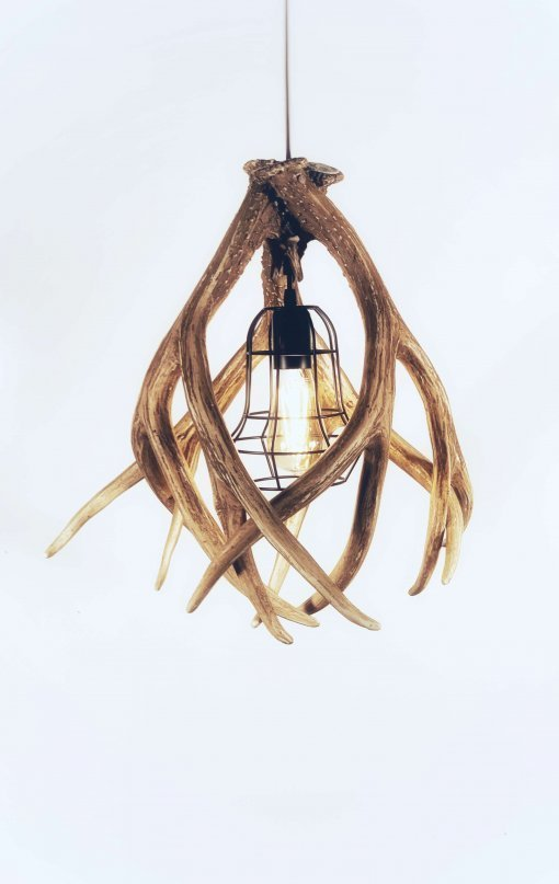 antler pendant with cage